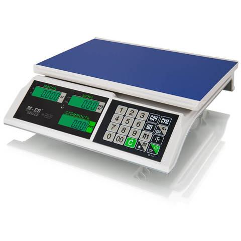 Весы торговые настольные Mertech M-ER 326AC-15.2 Slim, LCD/LED, АКБ, 15кг, 2гр, 325х230, с поверкой, без стойки