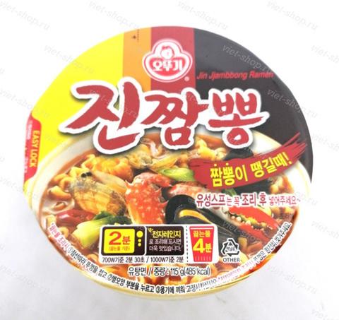 Корейская лапша со вкусом морепродуктов (острая) Jin Jjambbong Ramen, Ottogi (Оттоги), 115 гр.