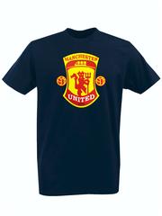 Футболка с принтом FC Manchester United (ФК Манчестер Юнайтед) темно-синяя 002