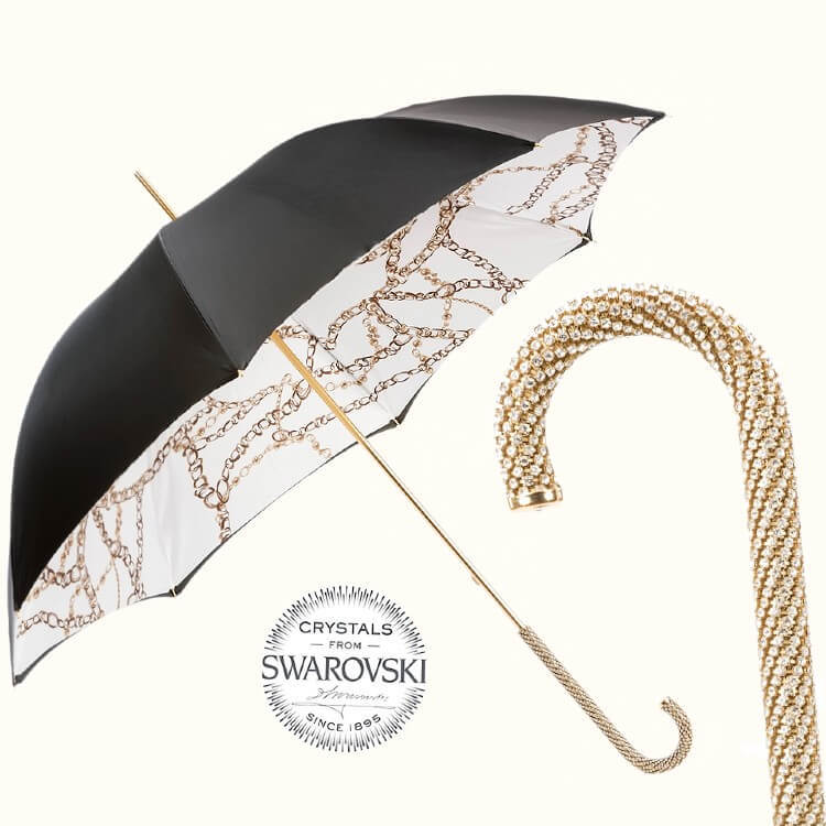 Зонт-трость Pasotti 58002-9 D35 Chains Printed Swarovski