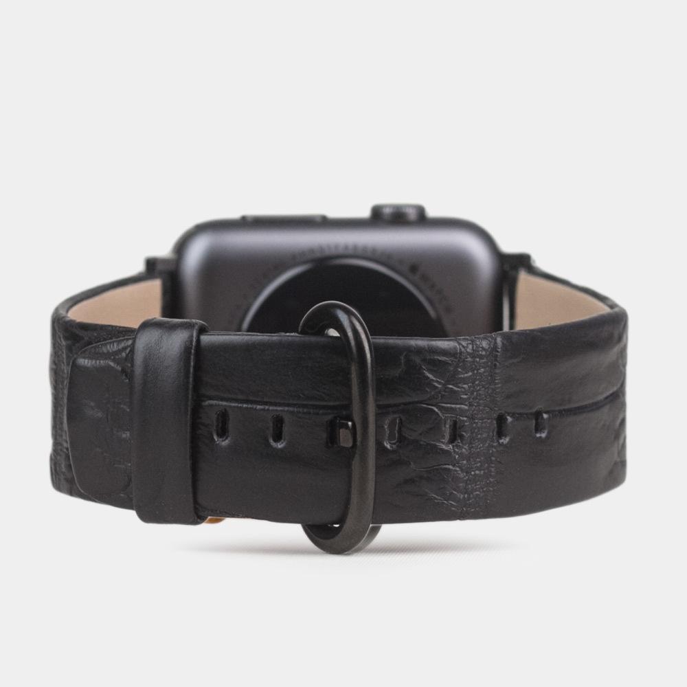 Кожаный ремешок из аллигатора Niloticus черного цвета для черных Apple watch