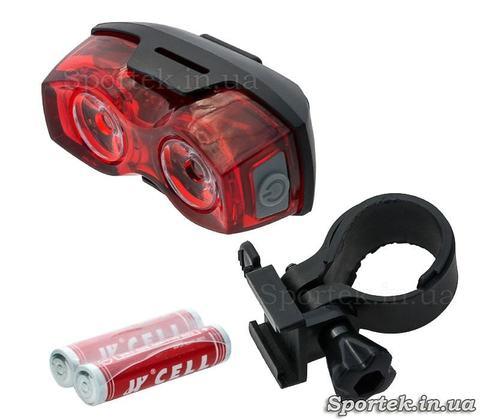 Красный задний семи режимный фонарь на двух светодиодах