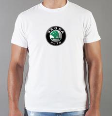 Футболка с принтом Шкода (Skoda) белая 006