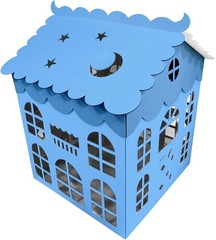 Коробка для шаров  Домик (голубой) 70*70*70 см, 1 шт.