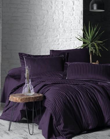Комплект постельного белья DO&CO Сатин  жаккард DELUX 2 спальный (Евро) LINEAR цвет баклажан