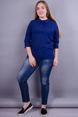 Кортни. Повседневная женская блузка больших размеров. Синий.