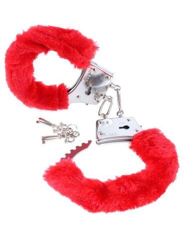 Наручники с красным мехом металлические Fetish Fantasy Series Beginner's Furry Cuffs - Red