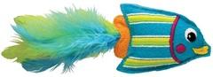 """Игрушка для кошек KONG """"Тропическая рыбка"""" 12 см фетр/перья/кошачья мята голубая"""