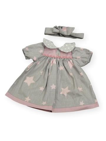 Платье с воротничком - Серый / звезды. Одежда для кукол, пупсов и мягких игрушек.