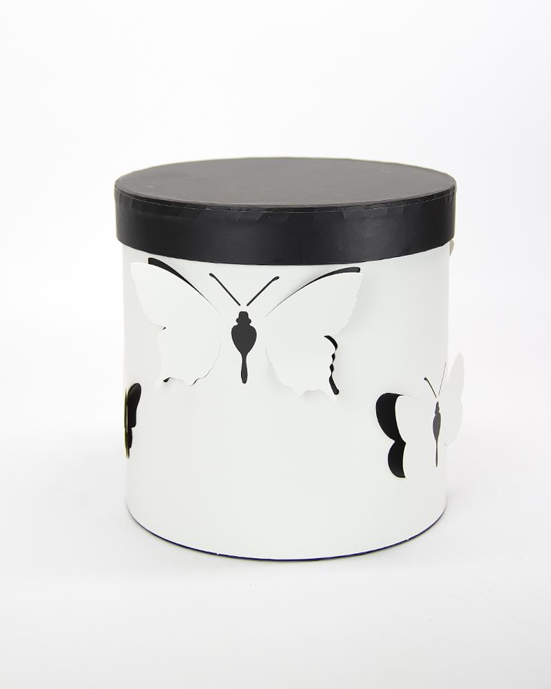 Коробка Цилиндр Белый-Черный  Мини (с бабочками)