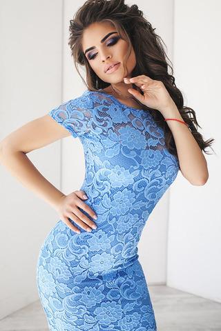 Кружевное миди платье-футляр, голубое 3