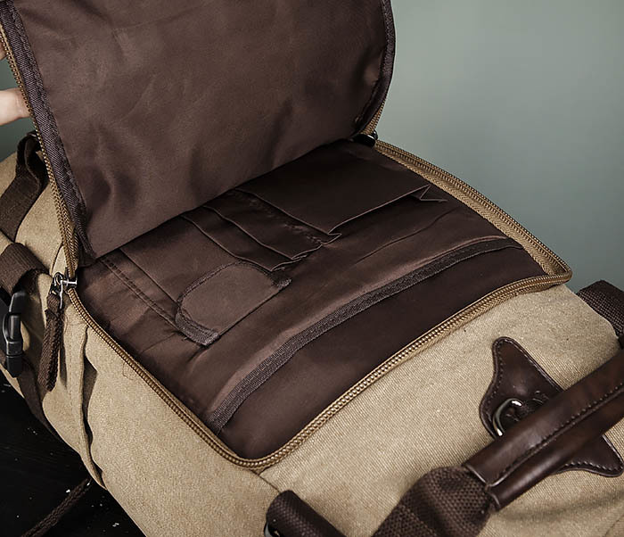 BAG479-2 Вместительная сумка рюкзак из ткани цвета хаки фото 07