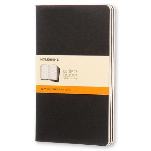 Блокнот Moleskine CAHIER JOURNAL QP316 Large 130х210мм обложка картон 80стр. линейка черный (3шт)