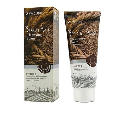 3W CLINIC Пенка для умывания натуральная КОРИЧНЕВЫЙ РИС Brown Rice Foam Cleansing, 100 мл