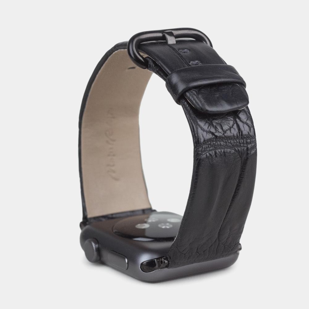 Ремешок для Apple Watch 42/44мм ST Classic из натуральной кожи крокодила, черного цвета