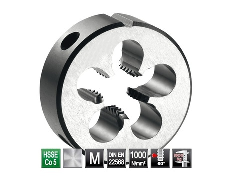 Плашка М12x1,75 DIN EN22568 6g HSSE52(HSS-Co5) 38х14мм S4 Bucovice(СzTool) 290120