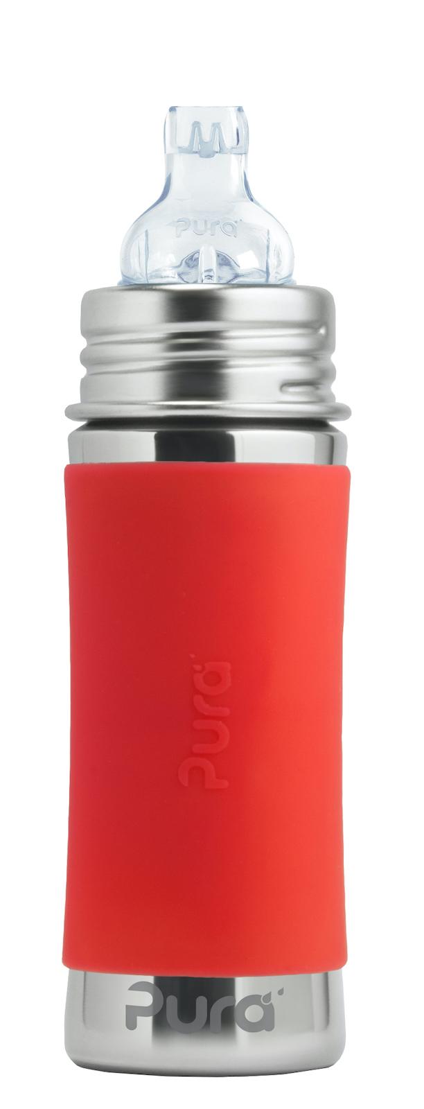 Детская стальная бутылочка-поильник Pura Kiki 325 мл (6 мес+) (оранжевый)