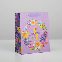Пакет ламинированный вертикальный «С 8 марта», MS 18 × 23 × 8 см