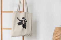Сумка-шоппер с принтом Майкл Джексон (Michael Jackson) бежевая 0012