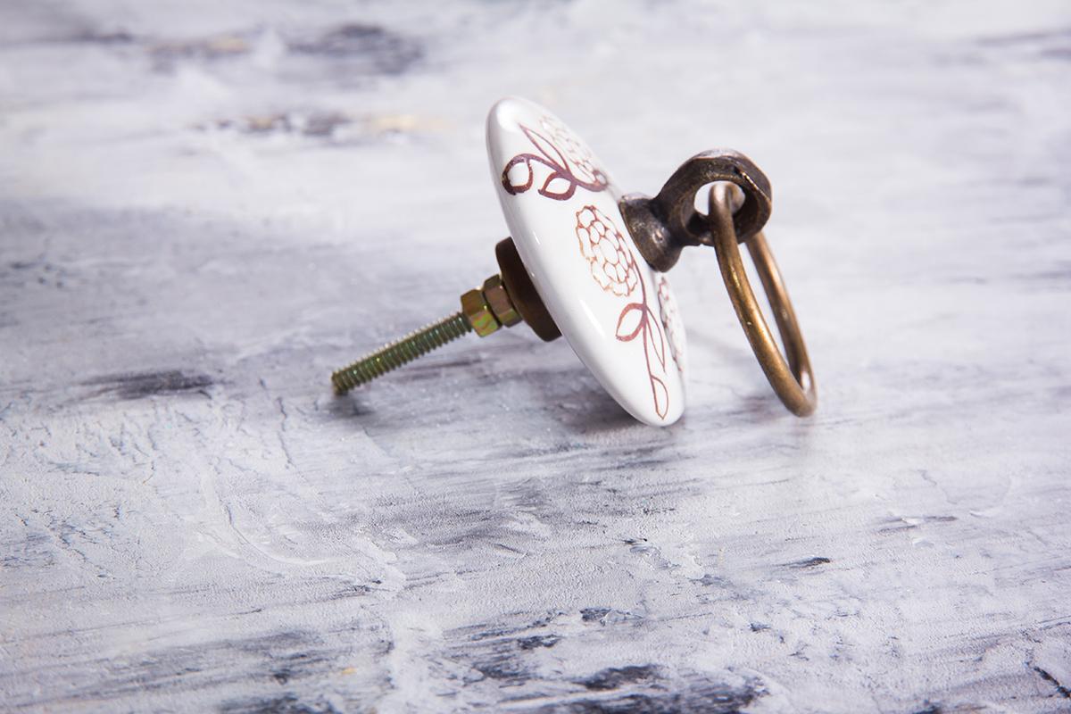 Ручка мебельная керамическая с кольцом  √ 59, арт. 000759