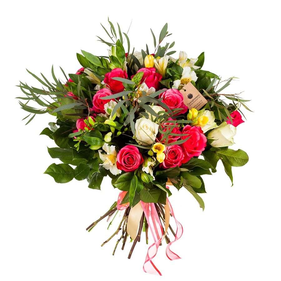 Букет из роз и альстромерий - Розовое чудо