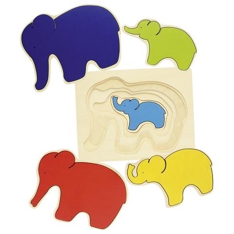 Пазл слоны многослойный