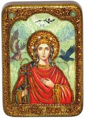 Инкрустированная Икона Святая Великомученица Ирина Македонская 15х10см на натуральном дереве, в подарочной коробке
