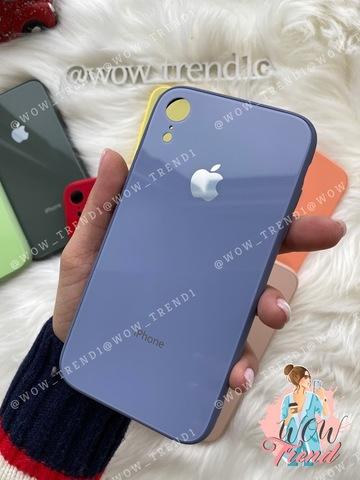Чехол iPhone XR Glass Pastel color Logo /lavender gray/