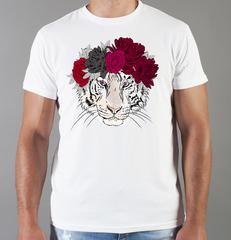 Футболка с принтом Тигр (Tiger) белая 0027