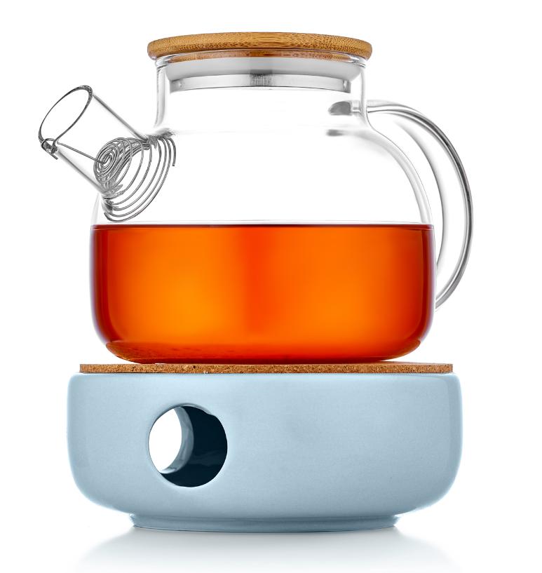 Заварочные стеклянные чайники Заварочный чайник на керамической подставке с подогревом от свечи 128G5B.PNG