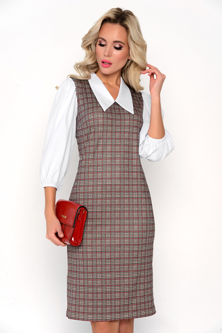 """<p>Модное платье """"Истинная красота"""" прямого силуэта с пышными рукавами на резинке и со стилным воротом.</p>"""