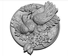 Силиконовый молд  Голуби    (медальон) № 0467