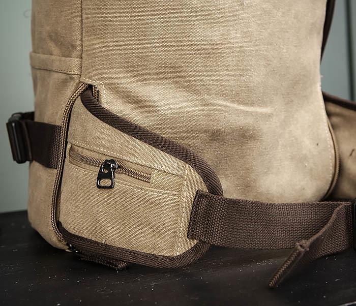 BAG479-2 Вместительная сумка рюкзак из ткани цвета хаки фото 11