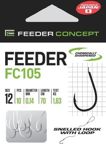Крючки с поводком FC105 70 см, 0,14 мм, размер 12, упаковка 10 шт.