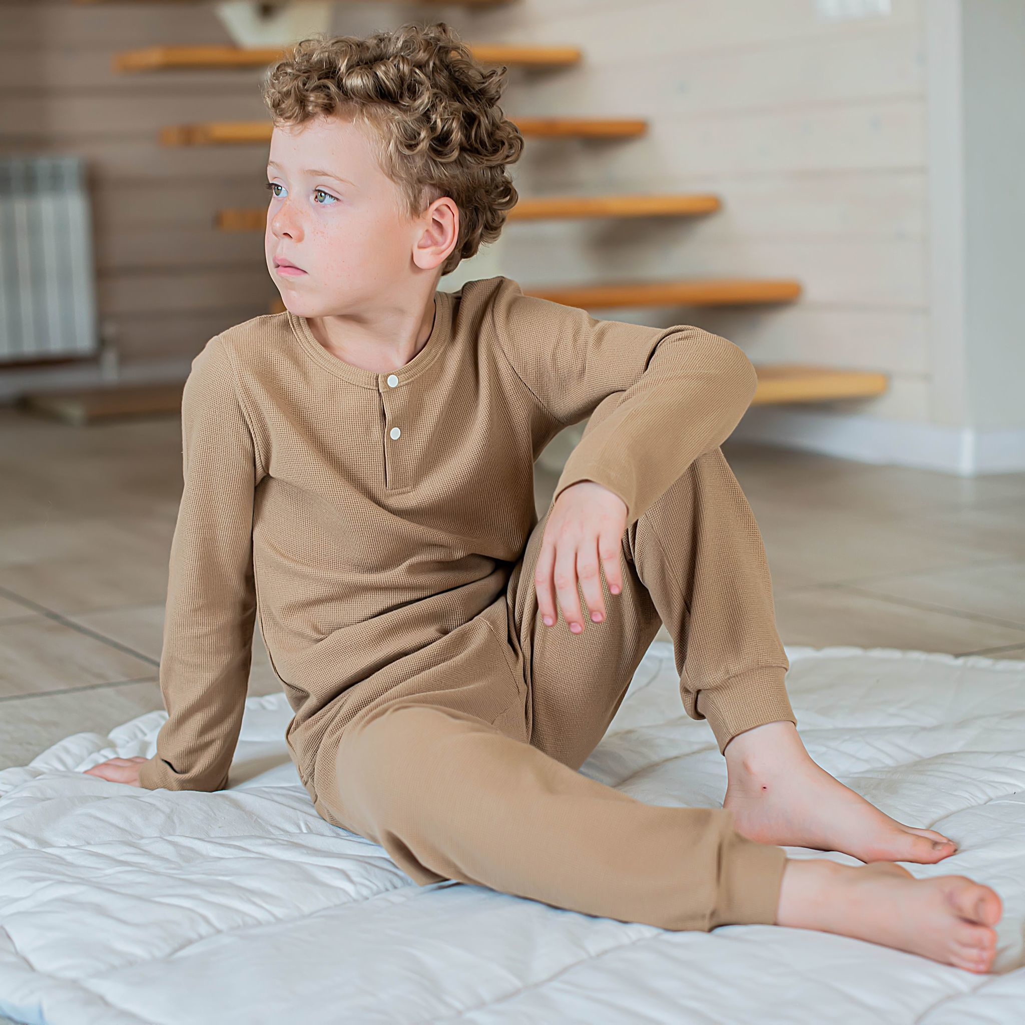 Ribbed pyjamas for teens - Desert Sand