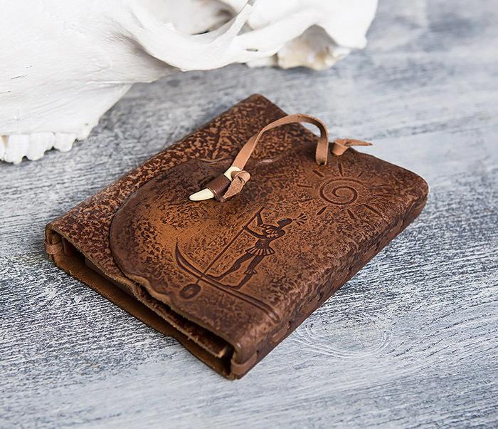 BY01-04-05 Кожаный блокнот  ручной работы «Цель Близка» с клыком (А6) фото 02