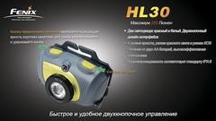 Налобный фонарь Fenix HL30 Cree XP-G (R5) (Чёрно-жёлтый, Серо-Зеленый)