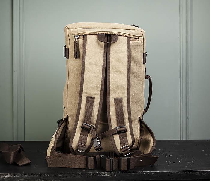 BAG479-2 Вместительная сумка рюкзак из ткани цвета хаки фото 13