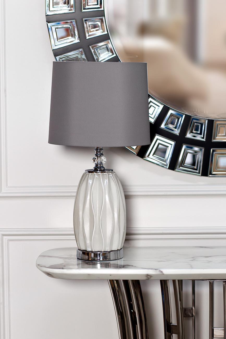 22-87755 Лампа настольная плафон светло-серый d30*62см