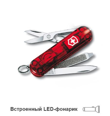 Нож-брелок Victorinox Classic SwissLite, 58 мм, 7 функций, полупрозрачный красный123