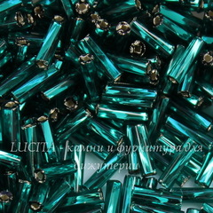 57710 Бисер Preciosa стеклярус #3, витой темно-бирюзовый с серебряным квадр. центром