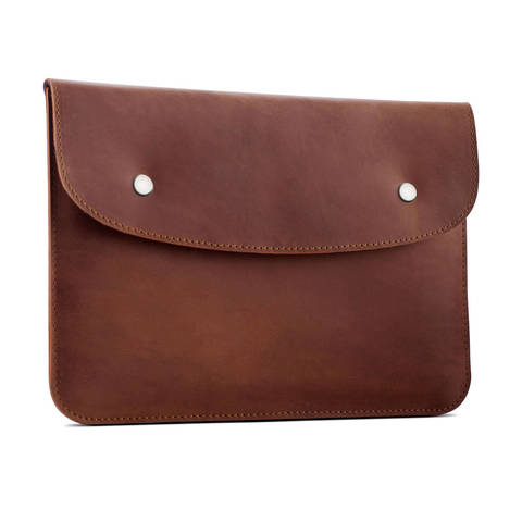 Коричневый кожаный чехол Gmakin для iPad на кнопках