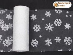 Фатин со снежинками белый ширина 15 см