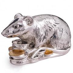Сувенирная Крыса с монетами - Символ 2020 года. Серебро