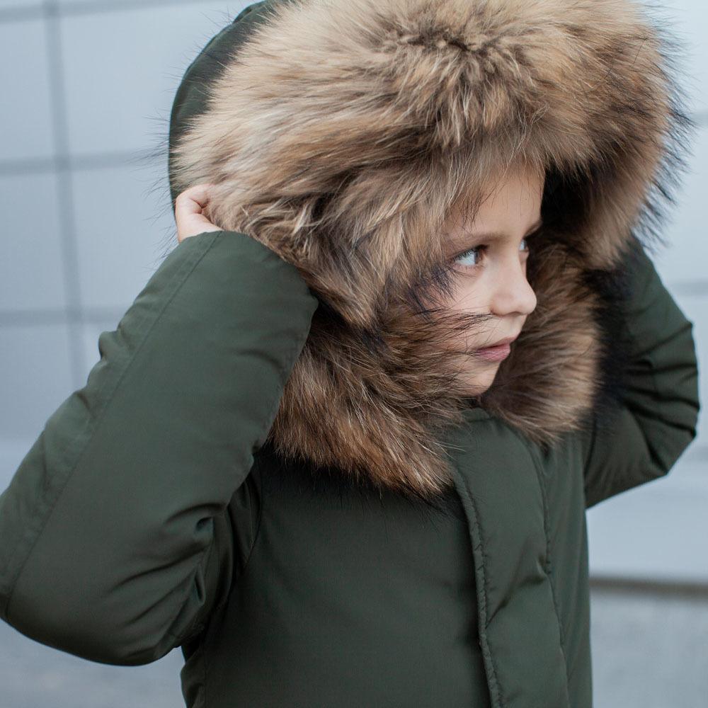 Зимова дитяча парка хакі з опушкою з натурального фінського єнота