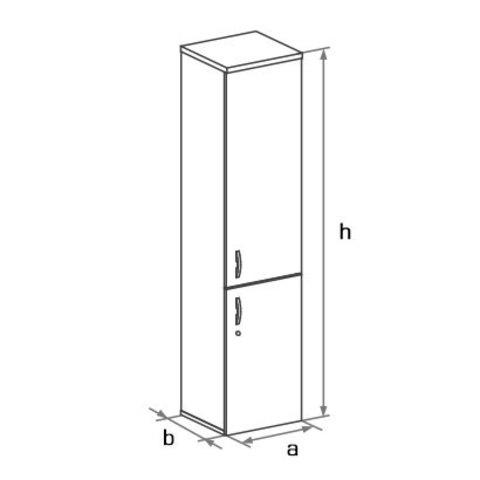 Шкаф закрытый узкий высокий с глухими дверцами БОСТОН