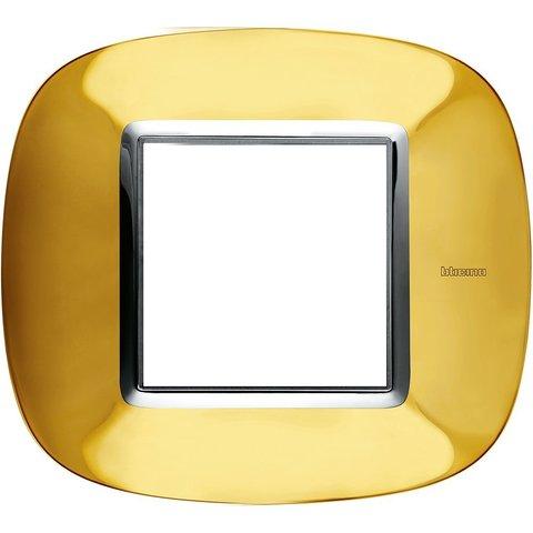 Рамка 1 пост, овальной формы. ГЛЯНЦЕВЫЕ. Цвет Золото. Немецкий/Итальянский стандарт, 2 модуля. Bticino AXOLUTE. HB4802OR