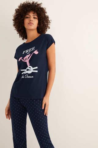 Довга піжама з точковим принтом і ілюстрацією «Рожева пантера»