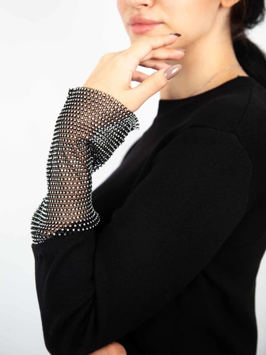Moda Кофта со стразами на рукавах
