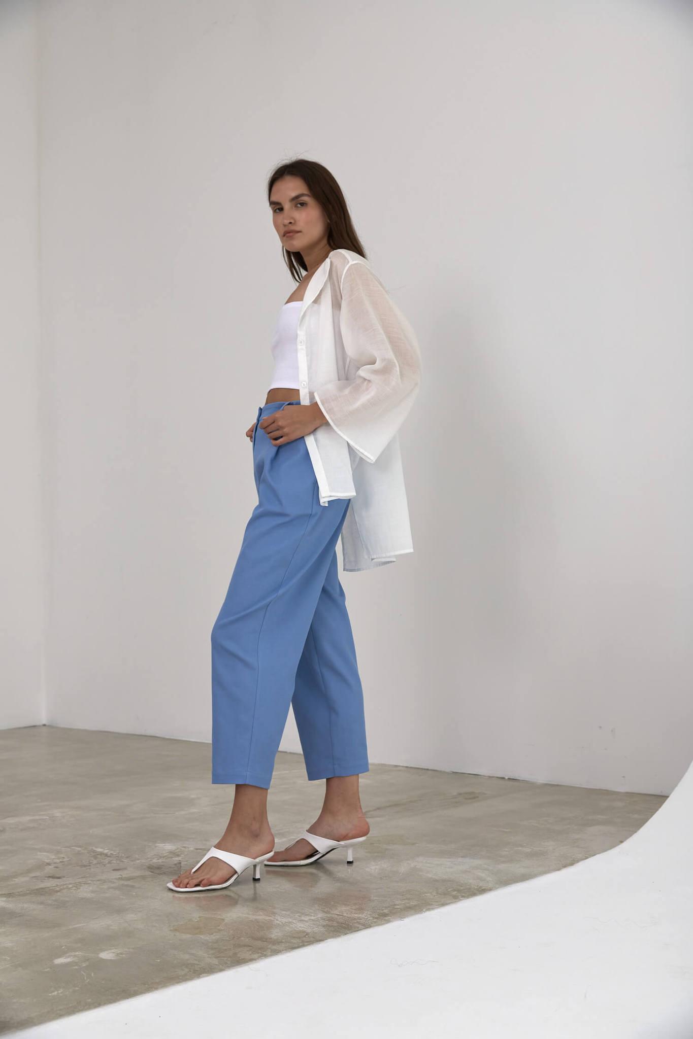 Асимметричная рубашка-блуза из тонкого льна с добавлением органзы